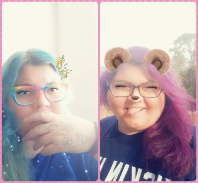 a side-by-side of two pictures of the blogger, one with her hair dyed blue and one with her hair dyed purple. both use Snapchat filters.